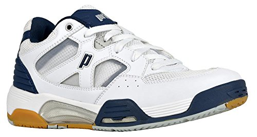 Prince NFS Attack Men's Squash Shoe (White/Navy/Silver, 8)