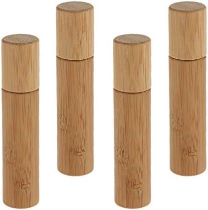 DYNWAVE 4個セット エッセンシャルオイル ボトル ロールオンボトル 小分けボトル 遮光 天然竹 小分け 詰め替え用
