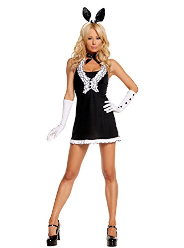 Black Tie Bunny Rabbit Halloween Roleplay Costume 5pc Set (M, Black/White) ()