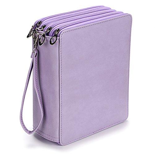 BTSKY160 Slots Colored Pencil Case- Deluxe PU Leather Handy Pencil Holder Organizer Zipper Pencil Box Large with Handle Strap for Colored Pencils Watercolor Pencils(Purple) ()