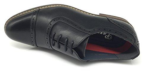 Enzo Romeo Herenjurk Oxfords Schoenen Italië Moderne Designer Wingtip Captoe 2 Tone Veterschoenen Wood3_black