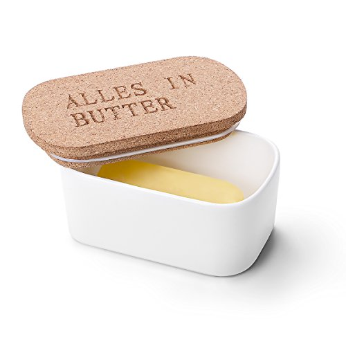 Sweese Butter Dish - Porcelain Keeper with Airtight Cork Lid, White
