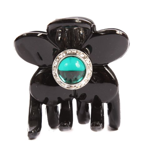 Caravan Hand Decorated Flower Shaped Hair Claw In Emerald...