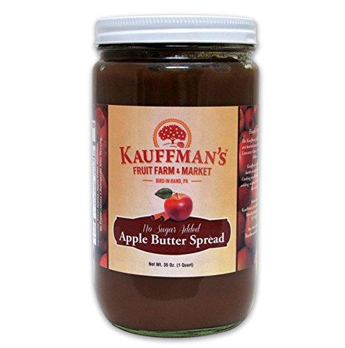 Kauffman's Spiced Apple Butter, No Sugar Added, 34 Oz. Jar (Pack of 2)