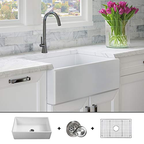 - Luxury 30 inch Pure Fireclay Modern Farmhouse Kitchen Sink in White, Single Bowl, Flat Front, includes Stainless Steel Grid and Drain, FSW1001 by Fossil Blu