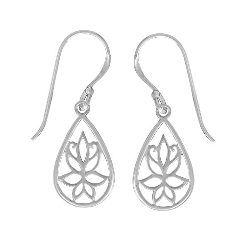 Boma Jewelry Sterling Silver Teardrop Lotus Flower Earrings ()