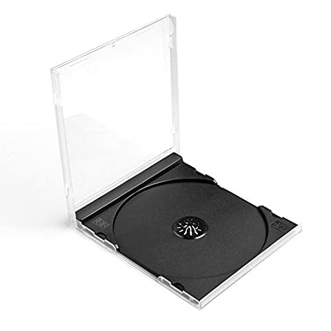 Flexzion CD Jewel Cases 100 Pack 10mm Thick Standard Single Clear DVD Movie Music Blu-ray Disc Media Storage Boxes Collectible Holder Organizer with Black - Dvd Slimline Jewel Case