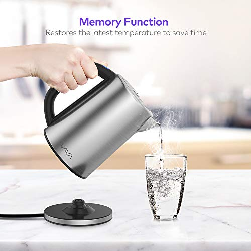 Electric Kettle, VAVA Real-Time LED Display Tea Kettle with Temperature Control, 1.7L Stainless Steel Fast Boiling Hot Water Kettle, 2H Keep Warm & Memory Function by VAVA (Image #3)