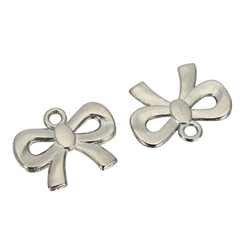 10 x Ribbon Charms 19x12mm Antique Silver Tone for Bracelets Necklaces Earrings -