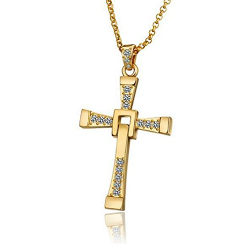 G&T European Women Cross Necklace Jesus Fashion White Yellow Rose Gold necklace(C2) (Oversized Cross Necklace)
