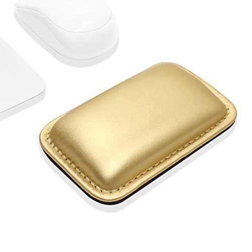 ProElife Office/Home PU Leather Mouse Wrist Rest Support Pad Mat Interior Soft Memory Foam for Magic Mouse Surface Mouse and Most of Wireless Wired Bluetooth Mouse Durable/Non-Slip (Gold Color)