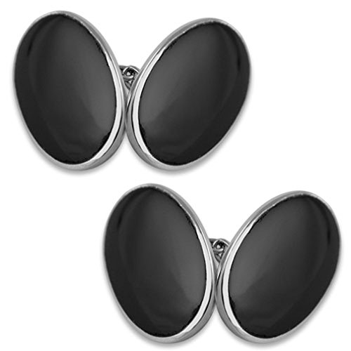 Box sided Bond James cufflinks Sterling silver Clip Money oval onyx Set double large fxSqP