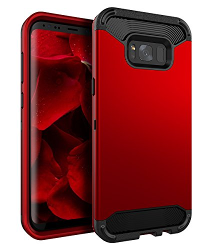 Ulsaar Samsung Galaxy S8 Case Slim Fit Heavy Duty Shock Resistant Protection TPU and Plastic Three Layer Hybrid Cover with Smooth Surface,Red Black