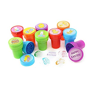 50 Easter Craft Stampers - Assorted Colors and Fun Unique Patterns - Durable Self-Inking Design Prevents Mess - Won't Dry Out Fast - Perfect Size For Small Kids Hands or Hiding in Easter Eggs: Toys & Games