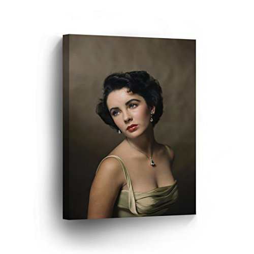 SmileArtDesign Elizabeth Taylor Iconic Halsman Portrait Jewels Colored Wall Art Canvas Print British American Icon Artwork Home Decor Stretched - Ready to Hang-%100 Handmade in The USA - 36x24 from SmileArtDesign