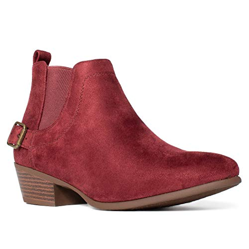 RF-ROOM-OF-FASHION-Womens-Casual-Western-Low-Stacked-Heel-Side-Elastic-Slip-On-Ankle-Bootie-Boots