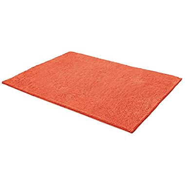 Resort Collection Chenille Plush Loop 17  X 24  Bath Mat, Coral