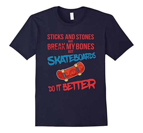 Mens Skateboards Break Bones Better T-Shirt XL Navy