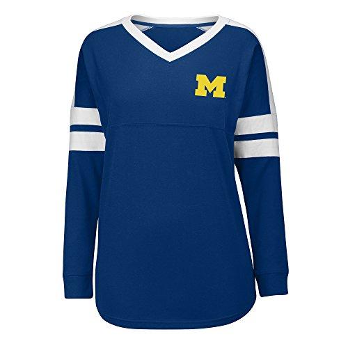 J America NCAA Michigan Wolverines Women's Gotta Have It Cheer Tee, Medium, Navy/White