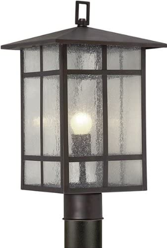 Forte Lighting 1319-01-32 Craftsman 1-Light Exterior Post Mount Lantern with Clear Seeded Glass, Antique Bronze Finish