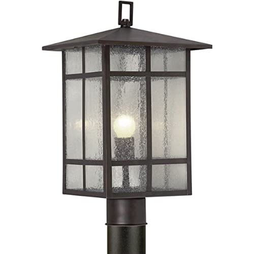 Outdoor column lights amazon forte lighting 1319 01 32 craftsman 1 light exterior post mount lantern with clear seeded glass antique bronze finish aloadofball Image collections