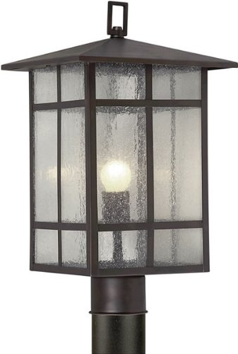 (Forte Lighting 1319-01-32 Craftsman 1-Light Exterior Post Mount Lantern with Clear Seeded Glass, Antique Bronze Finish)