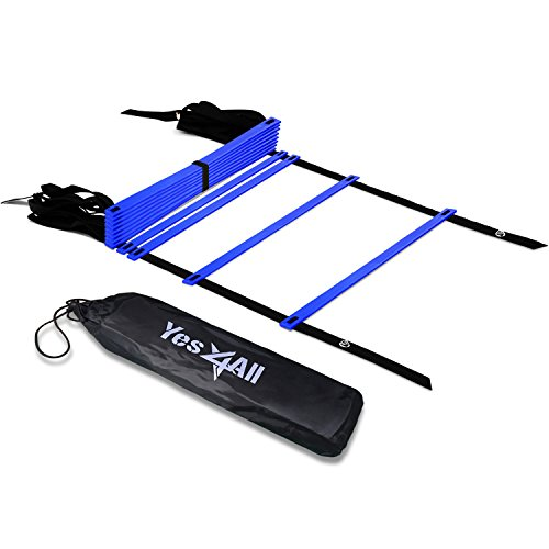 Yes4All Agility Ladder – Speed Agility Training Ladder with Carry Bag – 12 Rung (Blue)