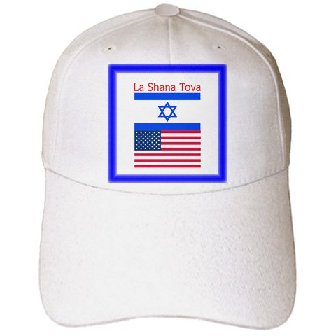 Florene - Jewish Themes - Print of New Year With Israel And US Flags - Caps - Adult Baseball Cap (New Year Caps)