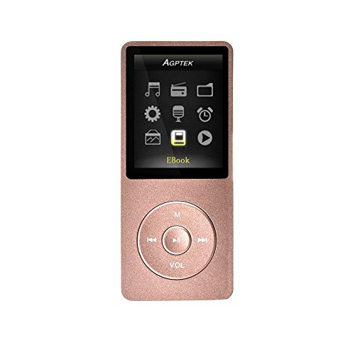 AGPtEK A02 8GB MP3 Player, Supports up to 32GB, Rose-Gold