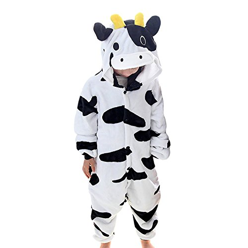 Value Sport Kids Unisex Cosplay Pajamas Onesie Cow Costume ()