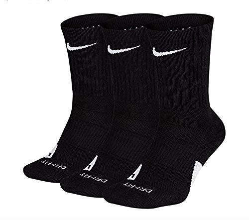 Nike Elite Basketball Crew Socks 3 Pack (Black/White, Large) (Nike Compression Basketball Socks)