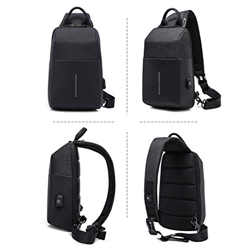 Wobongdi Shoulder Sling Black color Pocket Biking Black Oxford Traveling Cloth Backpack Crossbody Sports Men's For Walking Daypacks Student Chest Bag Leisure rrHdzq7
