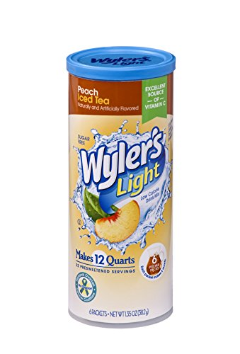 Wyler's Light Canister Drink Mix - Peach Iced Tea Water Powder Enhancer Canister (6 Canisters that make 12 Quarts Each)