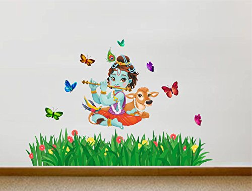 Rawpockets Decals ' Lord Krishna Flute singing with Cow and Butterfly Grass Decorative ' Extra Large...