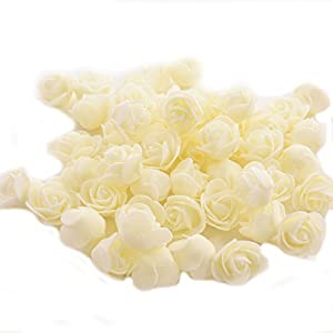 Ewandastore 100 Pcs 1.2 Inch Fake Rose Heads Real Looking Artificial Roses Flowers Heads for Wedding Bouquets Centerpieces Party Baby Shower Home DIY Decorations(Ivory) 6