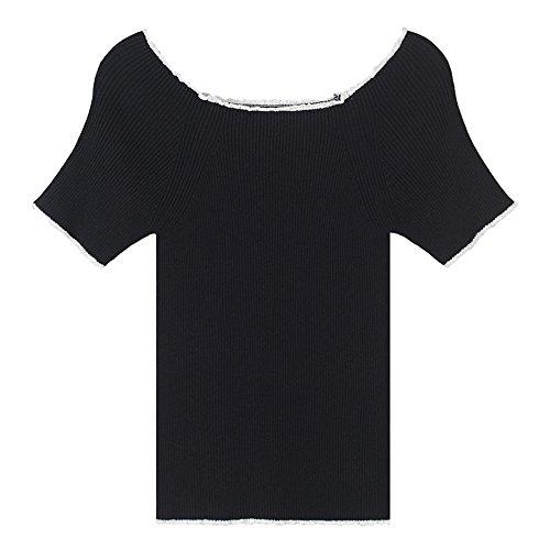 Maglia A Corte Wild T Uno Primavera Lavorati Moda Sau Spallamento shirt Xmy Nero Maniche wqfpBpa