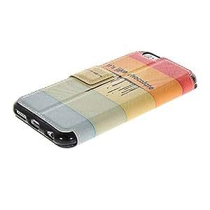 SOLIDERT tirón de la carpeta [001] Hermoso patrón de la historieta ultra delgada del caso en folio de la cubierta para el iPhone de Apple 6 (4,7 pulgadas)