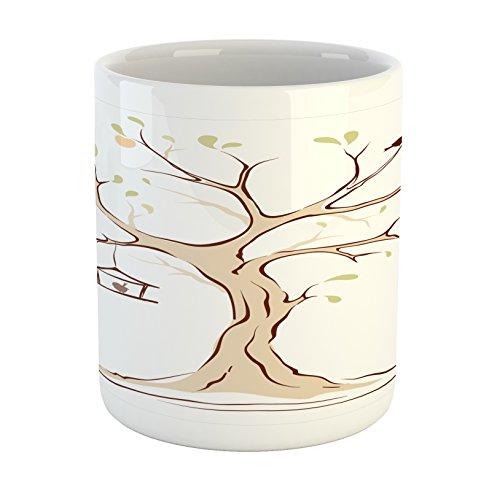 Ambesonne Tree of Life Mug, Mature Apple Tree with Fying Bir