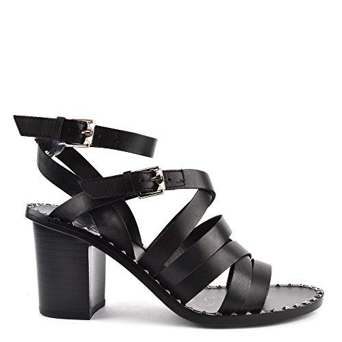 Black Sandal Heeled Puket Black Leather Ash Footwear qwOTv0