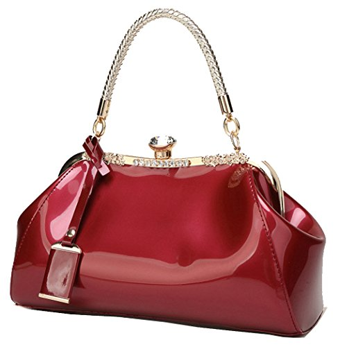 Kiss Purse C Womens Strap Lock Removable Structured Fashion PU Patent with Handbag Leather amp;L Rosered zzO18X