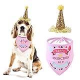 Kicpot 2 Pcs Dog Birthday Bandana Gold Glitter, Adjustable Dog Birthday Crown Hat Pet Supplies for Party Costume (Pink)