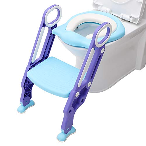 Potty Training Seat with Step Stool Ladder,Adjustable Baby Toilet Trainer Seat with Soft Anti-Cold Padded, Sturdy & Non-Slip,Comfortable Handles,Splash Guard, Suitable for Boys and Girl(Purple + Blue)