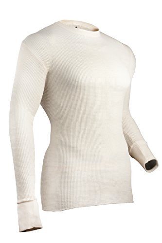 Indera Mens Cotton Waffle Knit Heavyweight Thermal Underwear Top, Natural, Medium