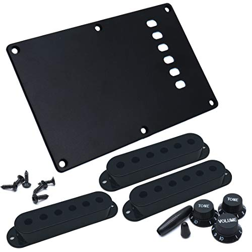 (Timiy Plastic Single Coil Pickup Covers Set for Stratocaster Electric Guitar Black)
