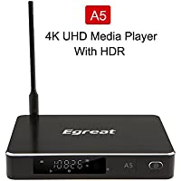 Egreat A5 4K HDR Ultra HD Streaming Blu-ray HDD Media Player Android TV Box With Wi-Fi (2016 Model,With No Disc Slot)