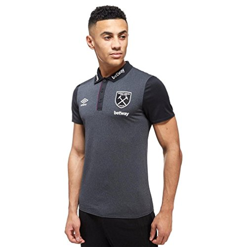 West Ham Shirt - Umbro West Ham United Poly Polo Shirt, Black, M