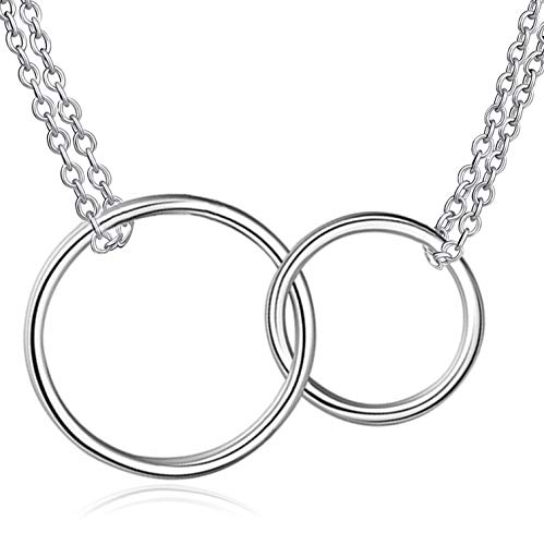 Ponerine Sister Bracelet Two Interlocking Circles S925 Sterling Silver Double Bracelet Gifts for Mother -