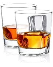 JoyJolt Carina Crystal Whiskey Glasses, Old Fashioned Whiskey Glass 8.4 Ounce, Ultra Clear Crystal Scotch Glass for Bourbon and Liquor Set of 2 Crystal Glassware
