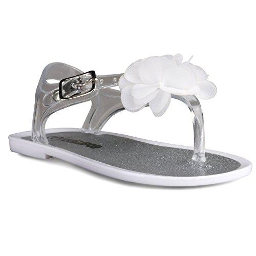 Chillipop [SBB104-WHITE-7T] Jelly Sandals Girls, Babies & Toddlers, White Flower (Metal Kids Sandals)