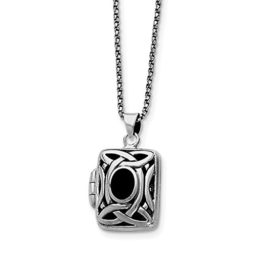 925 Sterling Silver Onyx and Marcasite Square Locket with Chain